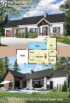 "Maybe try an ""L"" shaped house with bedrooms in one ""wing"". Architectural Designs Modern House Plan has 2 beds Modern House Plans, Small House Plans, Modern House Design, House Floor Plans, Cheap House Plans, 2 Bed House, House With Porch, Building A Porch, Building A House"