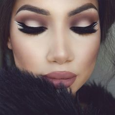 """@colourpopcosmetics ""Beeper"" liquid lipstick with Mac ""whirl"" lip liner  @velourlashesofficial lashes ""Sophia""  @morphebrushes 35N palette & black gel…"""