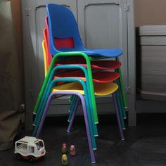 Chaise enfant assise plastique pied m�tal Kokette - pied violet