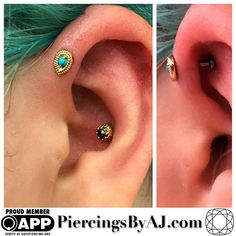 Fresh forward helix with 14k yellow gold pear millgrain and turquoise gem from LeRoi, healed conch with 14k yellow gold crown and genuine black pearl from BVLA.  Piercings by  AJ Goldman.