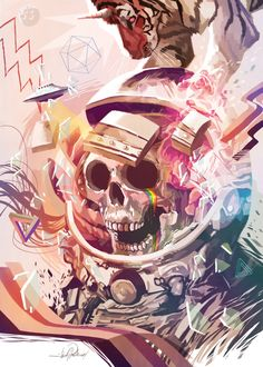 'CRYING IN THE SPACE' by Javier G. Pacheco - #space #astronaut #skull