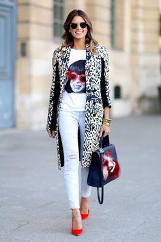 Paris Fashion Week Fall 2014 Street Style // leopard + red heels