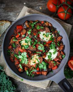 """Vegan Eggplant Shakshuka #meatlessmonday Feasting like a BEAST after a super busy day. Ahh this dish really brings me back to my Latin roots. Despite the recent media fads with raw vegan paleo etc the proof is in the pudding when it comes to """"diet types"""" and time and time again the Mediterranean diet has been shown to provide the largest number of health benefits. So what's it all about? The Mediterranean Diet is rich in vegetables fruit peas and beans (legumes) and grains. It also contains…"""
