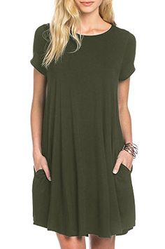 d55fe79766 Womens Plain Short Sleeve T-Shirt Dress Loose Flowy Swing Knee Length Tunic  Midi Dresses with Pocket