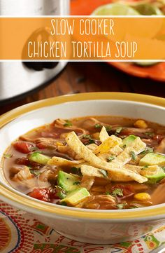 Let our Slow Cooker Chicken Tortilla Soup simmer in your slow cooker with RO*TEL tomatoes and green chilies for the perfect blend of flavor and spice.