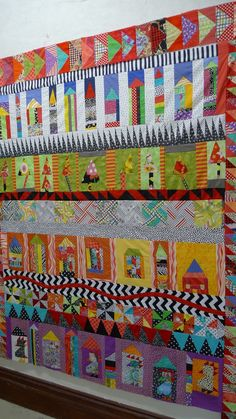 I'm not that keen on this exact quilt, but like the idea of having a different thing happening in each row.