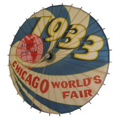 Graphic Chicago World's Fair Paper Umbrella 1933 American 1933 Wonderfully Graphic Chicago World's Fair Paper Umbrella circa Image shows the piece lit from behind, a striking graphic statement. Hot Tub Time Machine, Rainbow City, Paper Umbrellas, Fair Games, Art Deco Posters, Under My Umbrella, My Kind Of Town, Carnivals, World's Fair