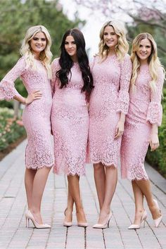 Beautiful Charming Sheath Pink Lace Bridesmaid Dresses With Sleeves Z1380