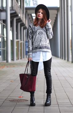 The Fashionable Blog. White long shirt+black leather pants+black ankle boots+grey printed sweater+burgundy tote bag+black hat. Fall Smart Casual Outfit 2016