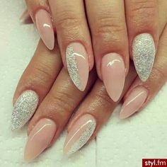 Pink & glitter stiletto nails