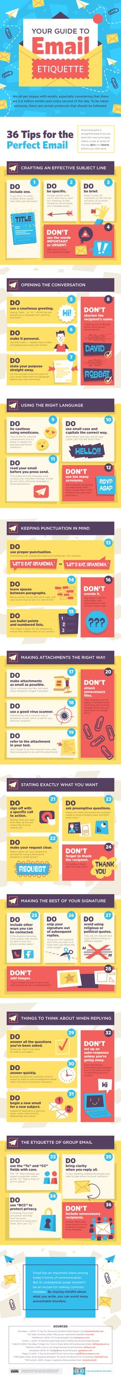 Email Etiquette: 36 Dos and Don'ts for Communicating via Email #Infographic #EmailMarketing