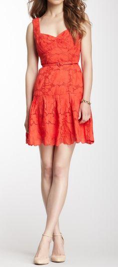 Eyelet Lace Coral Dress