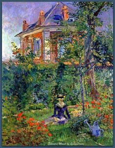 """""""A Garden nook at Bellevue"""" (1880) by Edouard Manet.1832-1883 Private Collection"""