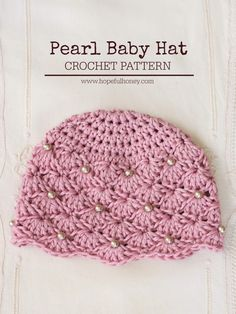 Precious Vintage Style Pearl Baby Hat - Free #Crochet Pattern