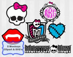 Monster High Digital Download!  Just think of the possibilities with these SVG Files and Clip art files! Make birthday cards, decorations, gift bags, gift tags, cards, cupcake toppers... add these to anything! The possibilities are endless!  You will receive the following  -6 SVG Files- Each SVG will cut separate colors/layers -6 PNG Files with transparent background to use as clip art  Please note that fonts or monograms are not included. This package dos include a monogram frame, to be...