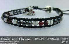 Moon and Dreams  Garnet and Moonstone Bracelet  ~anti depression and business success ~  -- Off on a Whim Jewelry