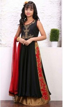 Black Color Taffera Silk Fabric Readymade Kids Girl Lehenga Choli | FH00031034