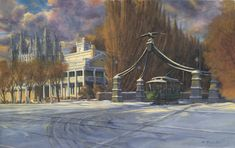 """""""Eagle Gate Trolley"""" depicts a 1930's winter view of the Beehive House, the Lion House, and Salt Lake Temple from State Street. Electric streetcars like the one depicted here were first implemented in 1889, replacing mule-drawn rail systems. Utah Temples, Lds Temples, Salt Lake Temple, Church History, State Street, Lds Church, Beehive, Salt Lake City, Gate"""