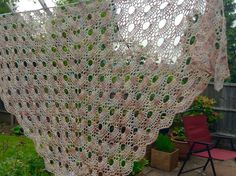 Gorgeous shawl crocheted using Perran Yarns laceweight BFL silk in shade 'She Sells Seashells' by Theresa Pilsbury