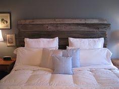 Barnwood Headboard.  Love!           #barnwood, #headboard, #graybedroom