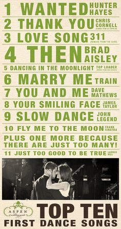 top ten first dance songs. First trime I've seen this version of first dance songs! Wanted is actually the song we chose for our first dance! Marry Me Train, Marry You, Wedding Music, Our Wedding, Dream Wedding, Wedding Stuff, Unique Wedding Songs, Wedding Recessional, Wedding Reception