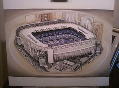 The Bernabeu home of Real Madrid @ www.sportsstadiaart.co.uk