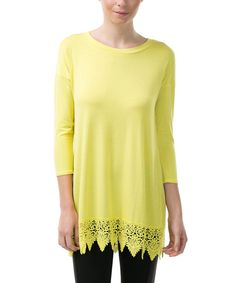 Look what I found on #zulily! CQbyCQ Lemon Lace-Trim Tunic by CQbyCQ #zulilyfinds