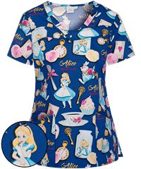 f4686669258 Cherokee Tooniforms Disney Late For a Date V-Neck Print Scrub Top