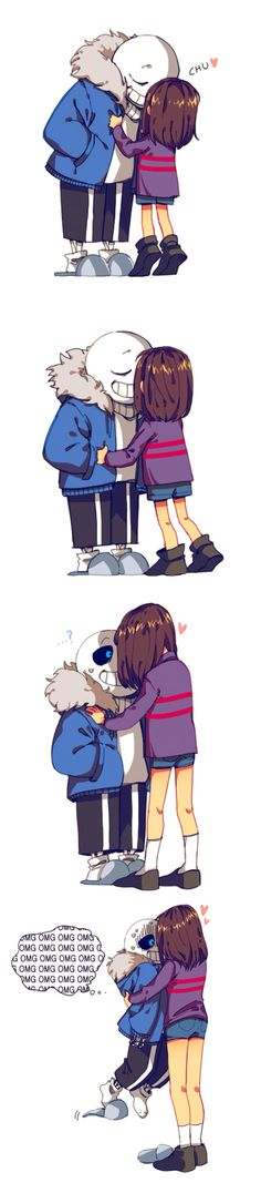Sans & Frisk>> I absolutely do NOT like this ship myself, but frisk getting bigger is cute..
