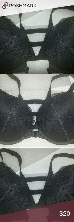 VICTORIA SECRET BRA Black Lace with Padding Push Up Technology and Black Straps Across Back Victoria's Secret Intimates & Sleepwear Bras