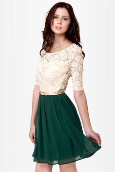 Pretty Beige and Dark Green Dress - Lace Dress - Belted Dress - $44.00 // I'm crying over this color combo
