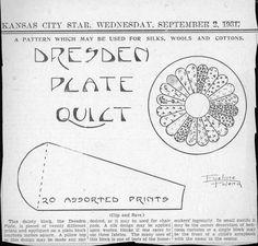 Kansas City Star Dresden Plate Quilt 1931 by Kay Holsey Profitt Dresden Plate Patterns, Vintage Quilts Patterns, Dresden Plate Quilts, Star Quilt Patterns, Pattern Blocks, Old Quilts, Small Quilts, Antique Quilts, Barn Quilts