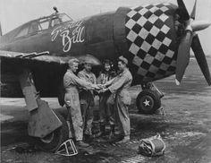 """Thunderbolt """"Scotty Bill"""" and pilot with ground crew D Day Photos, Becoming A Pilot, P 47 Thunderbolt, Air Festival, Fighter Pilot, Wedding With Kids, Nose Art, Arts And Crafts Supplies, Military Aircraft"""