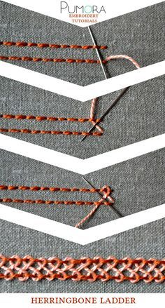 the herringbone stitch - Pumora - all about hand embroidery