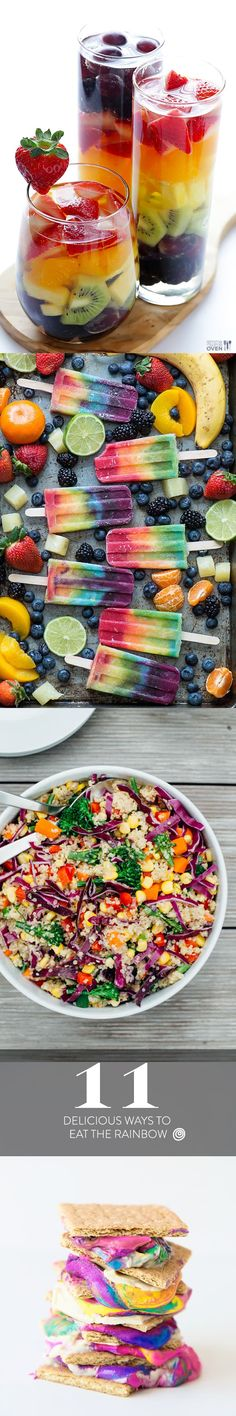 Throw a rainbow party and fill the table with some of these ideas and recipes for food! Savoury and sweet options, from pizza to cake. Even cocktails! Great for kids or adults.