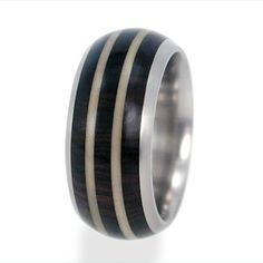 Titanium Ring with African Black Wood and Tagua by jewelrybyjohan, $176.00