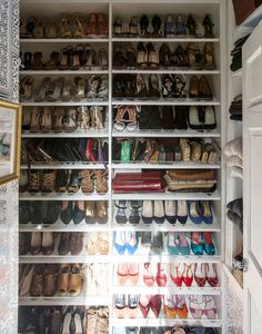 Veronica Beards shoe closet. Clutches too. I really like the acrylic front on the shelves.  These look like they pull out...perfect!