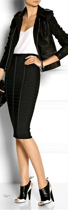 Hervé Léger bandage skirt ● Rick Owens jacket ● Roland Mouret shoes