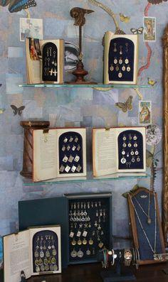 Love these book displays  jewelry display Waxing Poetic | Juggling in Heels