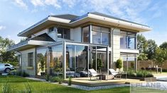 "Проект ""Welcome""   Plans   Проекти будинків Beautiful House Plans, Beautiful Homes, Luxury House Plans, Classic House, Home Fashion, Modern House Design, Urban Design, Planer, Bungalow"