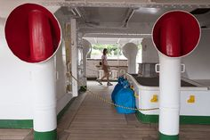 On the Nippon Maru sailing ship, Yokohama Port Museum.