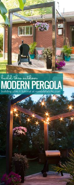 Add a beautiful modern pergola to your deck with this detailed step-by-step tutorial. This simple pergola's clean lines define an outdoor space and give you a structure to hang patio string lights and hanging planters. Full video tutorial and building plans at Remodelaholic.com #deckbuilder
