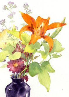 Original Watercolor of Orange Daylily with by DorisEttlingerStudio, $150.00