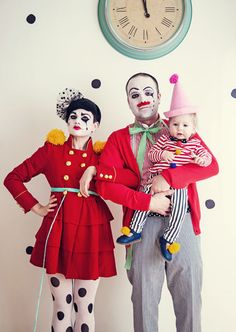 Clown Troupe: Scare everyone away with impressive clown costumes and intricate face paint. Coordinate colors, mainly primary ones, to look united and choose pieces with stripes or spots. This family costume idea works well for families of three or more - pets included! Add a big red nose or even a crazy wig to take this super fun family Halloween costume the next level.Find more family Halloween costumes here that are inexpensive, fun and super creative.