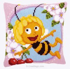 Maya the Bee - Maya - Cross-stitch cushion - Vervaco Cross Stitch Cushion, Cross Stitch Bird, Cross Stitch Flowers, Cross Stitch Charts, Cross Stitch Patterns, Easy Stitch, Stitch Kit, Crewel Embroidery, Cross Stitch Embroidery