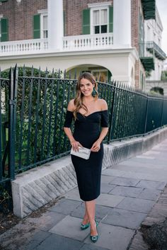 Gal Meets Glam The Little Black Dress + Manolo Blahnik Giveaway -Cinq A Sept dress, Manolo Blahnik Pumps, J.Crew Earrings & L'Afshar Clutch