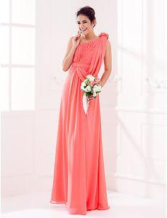 Floor-length Georgette Bridesmaid Dress - Watermelon Plus Sizes / Petite Sheath/Column One Shoulder 2016 - $79.99