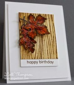 Stamping with Loll: Crackled Autumn Leaves | Stamps:  Gently Falling (SU!); A Little Sentimental (Clearly Besotted) Paper: White (Neenah); Watercolor: ARCHES 140 lb. COLD PRESS Ink:  DISTRESS INKS: Antique Linen, Brushed Corduroy, Vintage Photo, Walnut Stain, Spiced Marmalade, Ripe Persimmon, Fired Brick Accessories & Tools:  Waterbrush, Rock candy crackle paint (Tim Holtz); Woodgrain embossing folder (Sizzix)