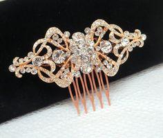 Rose gold wedding hair comb Bridal hair comb by Pearl Necklace Wedding, Bridal Bracelet, Bridal Necklace, Bridal Jewelry, Hair Comb Wedding, Bridal Hair, Bridal Comb, Art Deco Hair, Rose Gold Hair