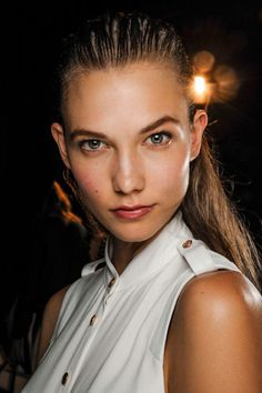 Karlie Kloss backstage at Rag & Bone S/S 2013 http://www.vogue.com.au/beauty/trends/the+four+best+self+tanning+mousses+,21747#